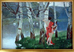 Farblitho Amor am Birkenhain, um 1900