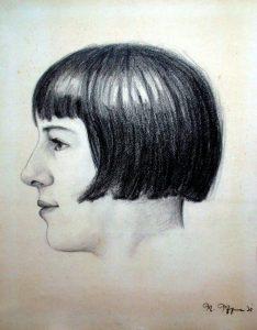 Kohlezeichnung Mädchen, 1920er