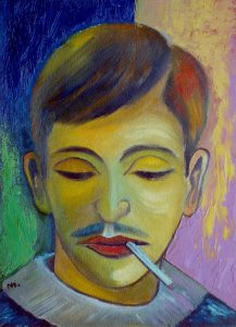 Ölgemälde Junger Mann, 1960er